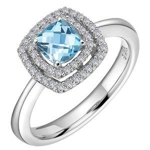 🎁NWT: Sterling & Topaz Princess Cut Ring